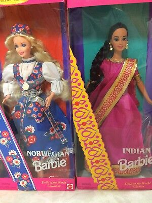 Lot Of Two Barbies Dolls Of The World Collection Indian Norweigian