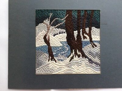 Beautiful vintage hand worked 'Wintry Scene' embroidery panel