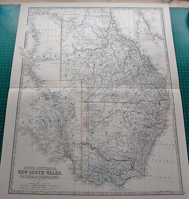 1885 Large Victorian Map-Johnston- Sth Australia,New Sth Wales,Victoria, Queensl