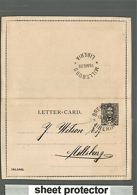 LIBERIA used Postal STATIONERY LETTER CARD - LC-1 - 1899 BREWERVILLE - MILLSBURG
