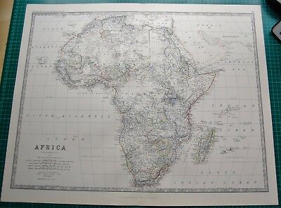 1885 Large Victorian Map-Johnston- Africa