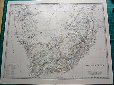 1885 Large Victorian Map-Johnston- South Africa