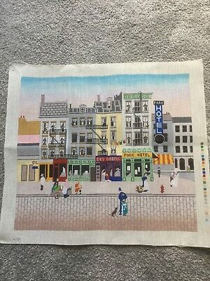 City Scene Hotel Dogs Buildings Needlepoint Canvas Handpainted