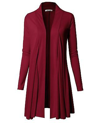 H2H Womens Comfy Open Front Draped Basic Long Sleeve Cardigan, Wine Red, Large L