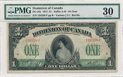 Dominion of Canada 1 Dollar 1917 DC-23a No Seal - PMG 30 Very Fine