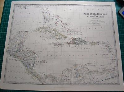 1885 Large Victorian Map-Johnston- West India Islands & Central America