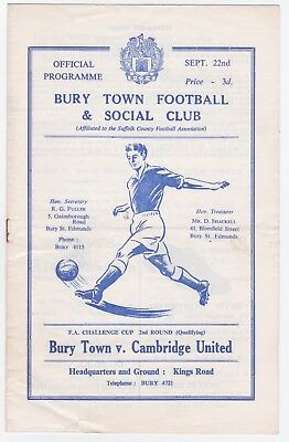 Bury Town v Cambridge United - 1962/63 FA Cup 2nd Qualifying Round