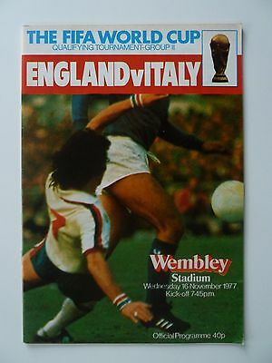 England v Italy - FIFA World Cup Programme from 1977 at Wembley