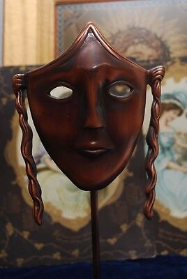 "Unusual 15"" Bronze Metal BAFTA Style Mask Statue On Plinth Unsigned"