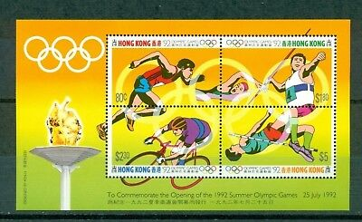 Hong Kong Scott #628e MNH Olympics 1992 Barcelona Sheet With Inscription CV$5+