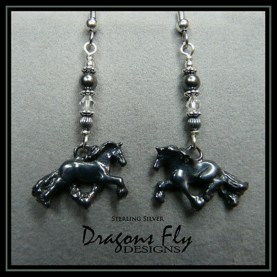 Horse Jewelry Horse Earrings Sterling Silver Crystal & Pearl Equine Friesian