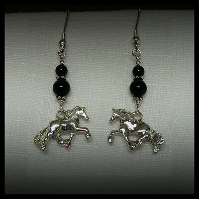 Horse Jewelry Horse Earrings Sterling Silver Onyx Equine Friesian Baroque