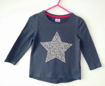 Girl's navy, sparkly star long sleeved top, age 12-18 months