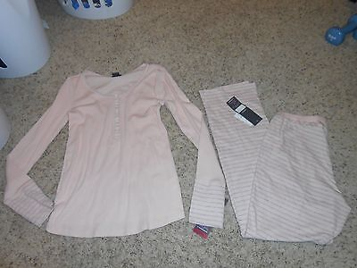 New Oh Baby Maternity Pajama Set Size Small 2pc Pjs Pink/Gray Pant/Shirt $54