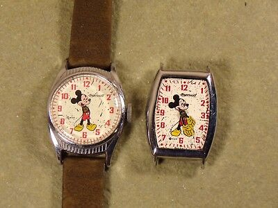2 Vintage Mickey Mouse Watch Ingersoll US Time 7842 5842 Parts Repair
