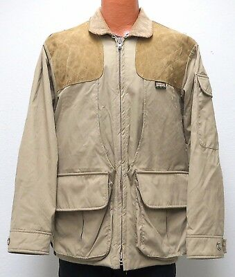 vtg Remington KHAKI SHOOTING Jacket MED Suede Leather Pads 80s/90s Flannel Lined