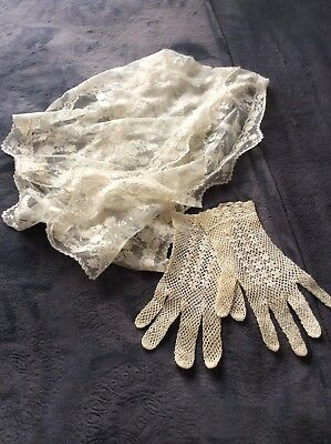 Vintage Crochet Lace Gloves Size Small With Lace Scarf