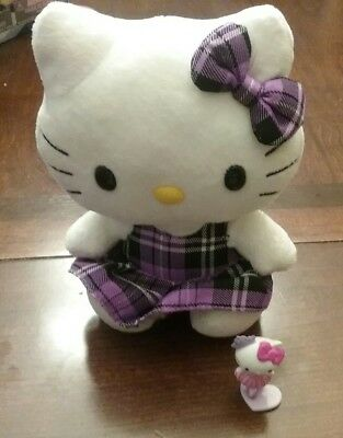 """Hello Kitty in plaid purple dress Stuffed Plush Doll Toy by Ty 6"""" with mini"""