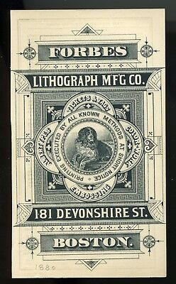 1880s PRINTER'S CARD, FORBES LITH CO, ENGRAVED GRAPHICS, ST BERNARD, BOSTON