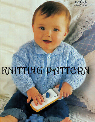 Baby/toddler cable cardigan with collar knitting pattern 4 ply 109