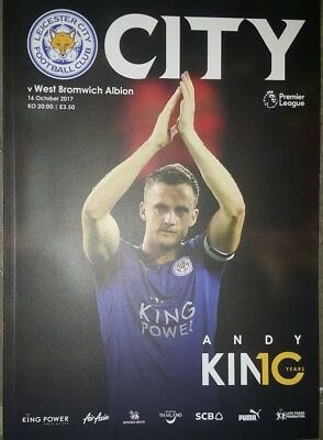 Leicester City V West Brom 16/10/17 Official Programme and team sheet.