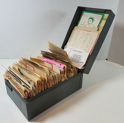 Vintage Recipe Card Box STUFFED Hand Written Clipped Typed 1940s-1990s