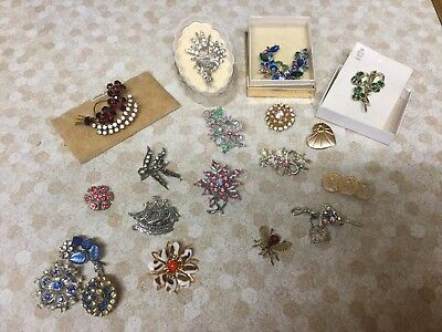 Collection of Rare & Beautiful Vintage Jewellery brooches