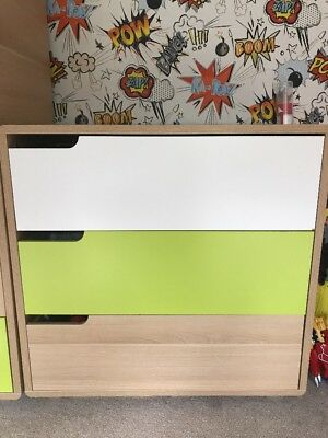 Mothercare Boys White Green Oak Effect Nursery Chest Of Drawers 3 Draw