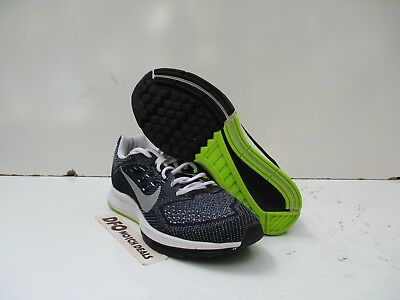Women's NIKE ZOOM STRUCTURE 18 Sz 5 Running Shoes Black White Green 683737-100