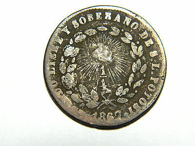 Mexico, San Luis Potosi, copper quarter real, 1867. One year type, deep brown