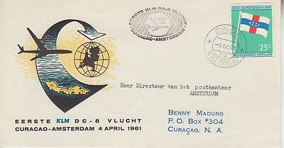 1961 Netherlands Antilles First Flight Curacao To Amsterdam Holland
