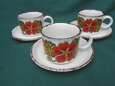 3 x Vintage midwinter Stonehenge  Nasturtium ~ CUPS AND SAUCERS