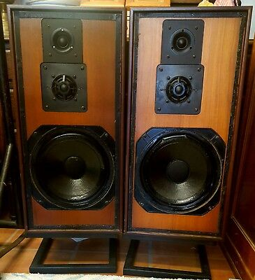 Vintage Retro Teak Goodmans Achromat 400 Speakers with Stands