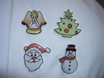 Lorna Bailey A Set Of 4 X Christmas Fridge Magnets From 2002. Ltd Edtn  No 3/30