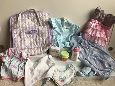 American Girl bitty baby lot of clothes & Accessories Dress Bib  Diaper Bag Etc