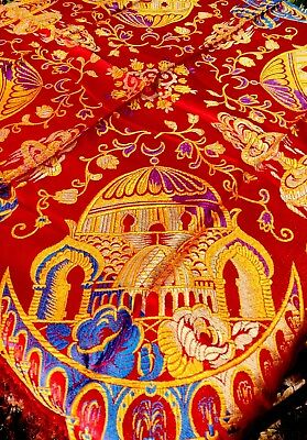 Gorgeous Red Blue Gold WWII Silk Brocade Taj Mahal Piano Scarf Shawl Fountains