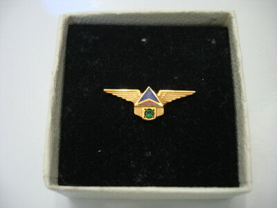 Vintage Delta Airlines 15 Year Service Award 10K Gold with Emerald Tie Tac / Pin