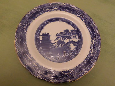 DECORATIVE PLATE in BLUE and WHITE WILLOW PATTERN by WADE CERAMICS