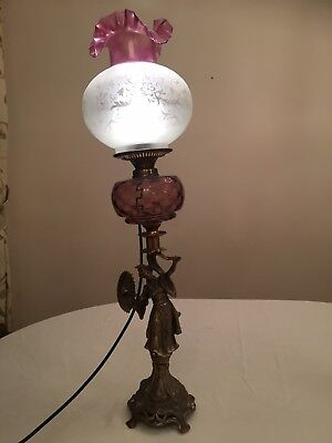 Antique Victorian Oil Lamp Converted To Electric Lamp