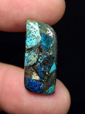 Beautiful ! 13.00 Cts. Natural  Silver  Azurite  Fancy  Cab For Silver Pendant