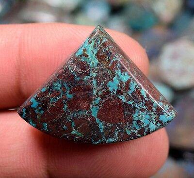 Stunning  Chrysocolla ! 42.25 Cts. 100 % Natural  Triangle  Cab For  Pendant
