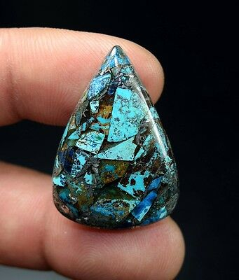Beautiful ! 23.65 Cts. Natural  Silver  Azurite Pear Cab For Silver Pendant