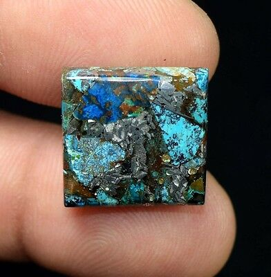 Beautiful ! 13.05 Cts. Natural  Silver  Azurite  Cushion Cab For Silver Pendant