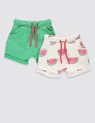 BNWT M&S Girls 2 Pack Melon Print & Green Shorts