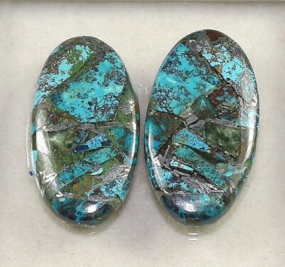 Lovely Pair  ! 17.60 Cts. Natural Silver Azurite Oval Cab For  Earrings