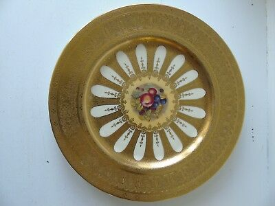 """Large Aynsley Orchard Gold Fruits Centre Gold Edged Dinner Cabinet Plate 10.5"""""""