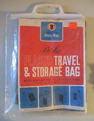 Dora May Vintage Deluxe Plastic Travel Storage Bag Blue Plaid New in Package