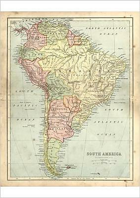 A2 (59x42cm) Poster of Antique damaged map of South America in the 19th Century