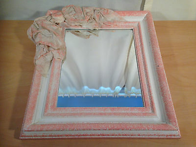 "Wall Mountable 13"" Mirror Pink and White Bedroom Bow Decoration Girls Vanity"