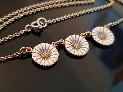 Georg Jensen gilt enamel three daisy necklace
